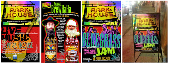 promotional posters for pub
