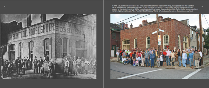 Colors of Pittsburgh photo book, historic horseshoer shop then and now